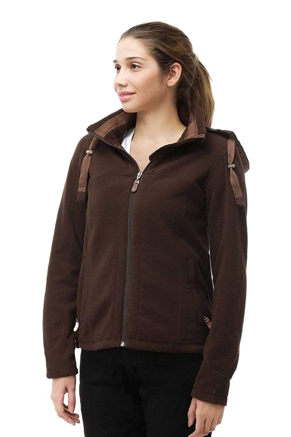 MIER Women's Heavy-Weight Polar Fleece Jacket Full Zip Thermal Outerwear with Detachable Hood jackets 8 / Saddlebrown MIER