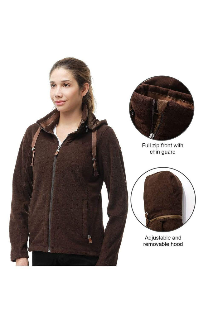 MIER Women's Heavy-Weight Polar Fleece Jacket Full Zip Thermal Outerwear with Detachable Hood, Zipper Pockets Jackets MIER