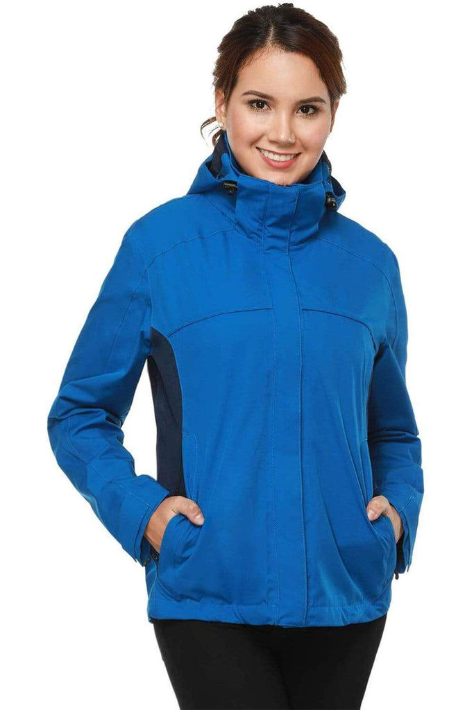 MIER Women's Lightweight Rain Jacket Front Zip Waterproof Raincoat with Removable Hood, Windbreaker for Hiking