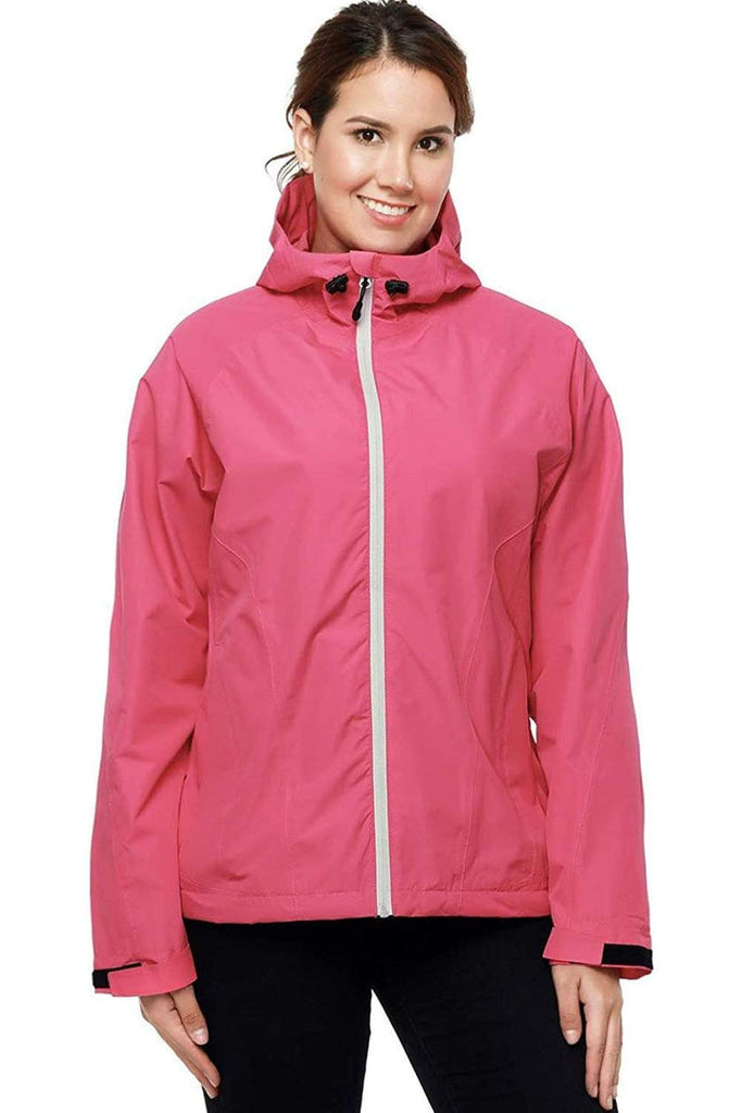 MIER Women's Packable Rain Jacket with Hood Waterproof Rain Shell Windbreaker for Outdoor Rain jacket XS / Hot pink MIER