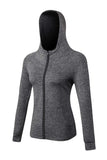MIER Women's Yoga Fitness Full Zip Hoodie Sweatshirt Yoga Gray MIER