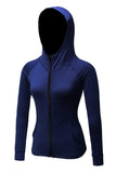 MIER Women's Yoga Fitness Full Zip Hoodie Sweatshirt Yoga Navy Blue MIER