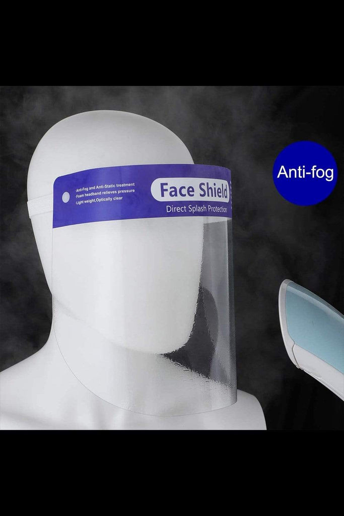 Safety Face Shield Anti-Fog Protective Face Visor Mask with Elastic Band, Reusable Transparent Protective Mask for Men and Women, 5 Pack All Purpose MIER