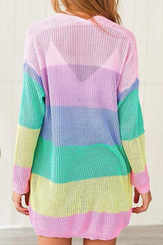 Women's Patchwork Rainbow Stripe Cardigan Sweater Cardigan MIER