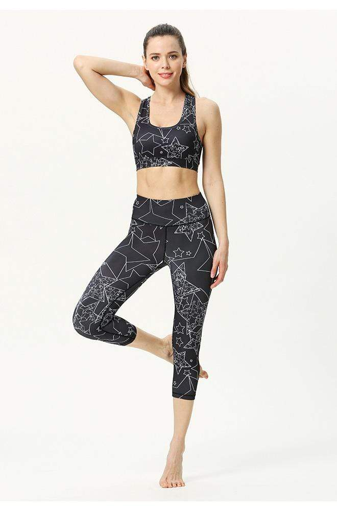 Women′s Yoga Pattern Print Sports Bra Pants Set Yoga Black Print / S MIER