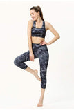 Women′s Yoga Pattern Print Sports Bra Pants Set Yoga Camo Capri / S MIER