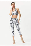 Women′s Yoga Pattern Print Sports Bra Pants Set Yoga White Print / S MIER
