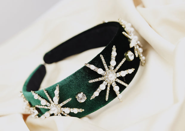 Emerald Burst Velvet Headband