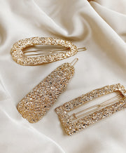 Gold Nugget Barrette Set