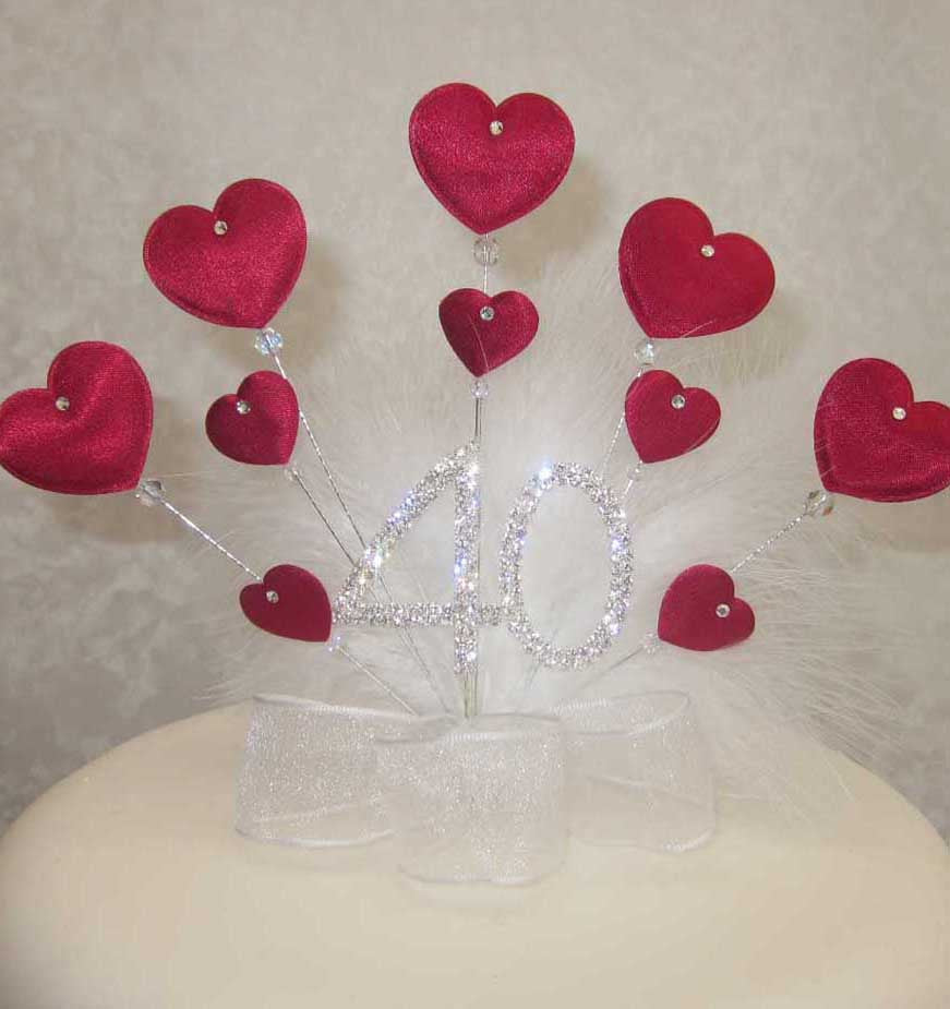 40th ruby wedding anniversary cake topper red padded