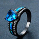 December Black Gold Filled Heart Ring - GenieMania Fr