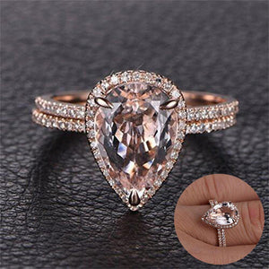 Pear Shaped Halo Rose Gold Ring - GenieMania Fr