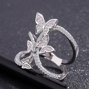 Crystal studded butterfly ring