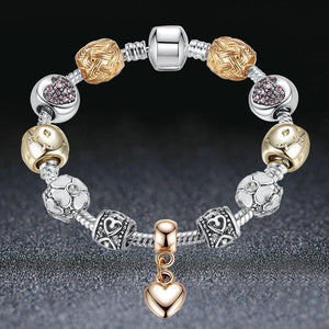 Crystal Flower Beads Charm Bracelet