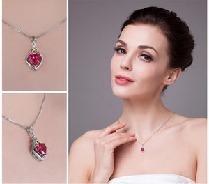 Ruby Gemstone Heart Necklace