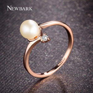Rose Gold Pearl Ring - GenieMania Fr