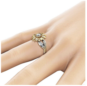 EXQUISITE SILVER CRYSTAL SUNFLOWER RING - GenieMania Fr