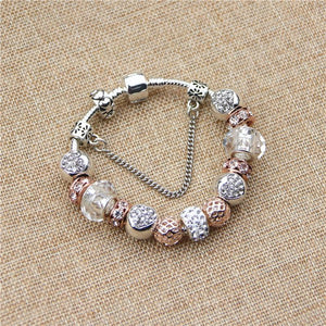 Rose Gold Heart Charm Bracelet