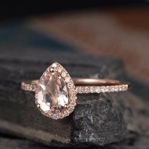 Pear Shaped Halo Rose Gold Ring