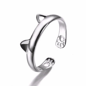 Silver Plated Cat Ear Design Ring Cute Fashion Jewelry