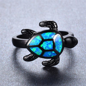 Blue Fire Opal Turtle Ring - Free Shipping