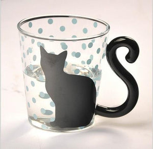 MODERN CAT SILHOUETTE GLASS MUG - GenieMania Fr