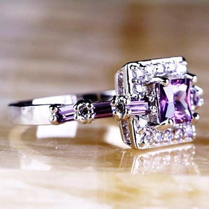 Amethyst Square Crystal Ring