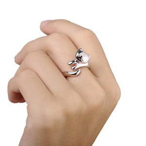 Silver Plated Cat Ring Jewelry - GenieMania Fr