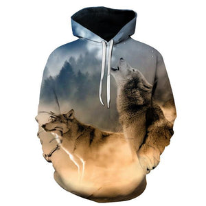 WHITE WOLVES UNISEX HOODIE