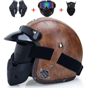VINTAGE LEATHER MOTORCYCLE HELMET - GenieMania Fr