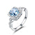 Halo Aquamarine Topaz Ring - GenieMania Fr