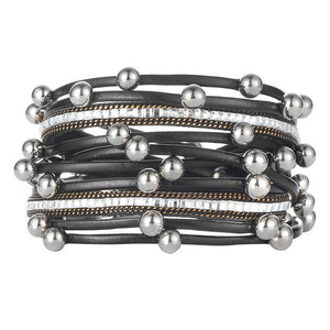 Sterling Forever Layered Leather Bracelet - GenieMania Fr