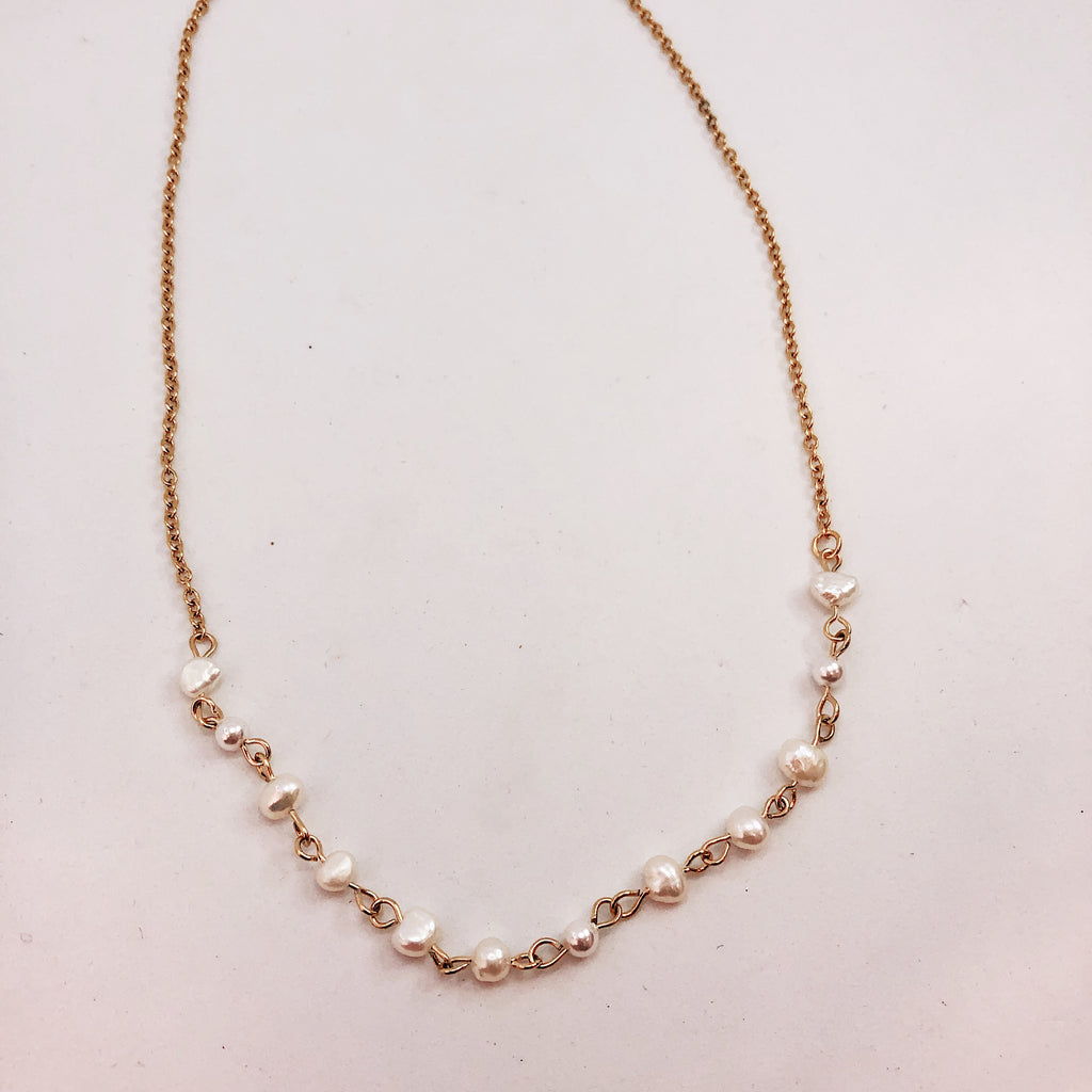 collier perles or 14k