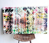 Speckled - extra large stretched screen, one of a kind screen printed, drop cloth, wall art