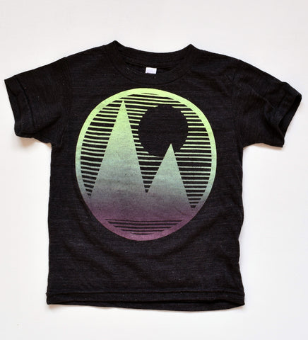Mountainscape - kid's hand printed, t-shirt