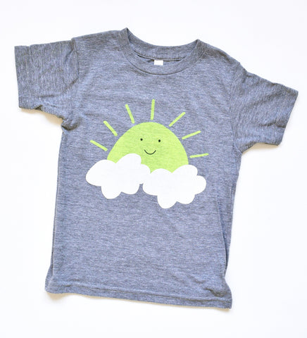 Sunny Side Up - kid's hand printed, t-shirt