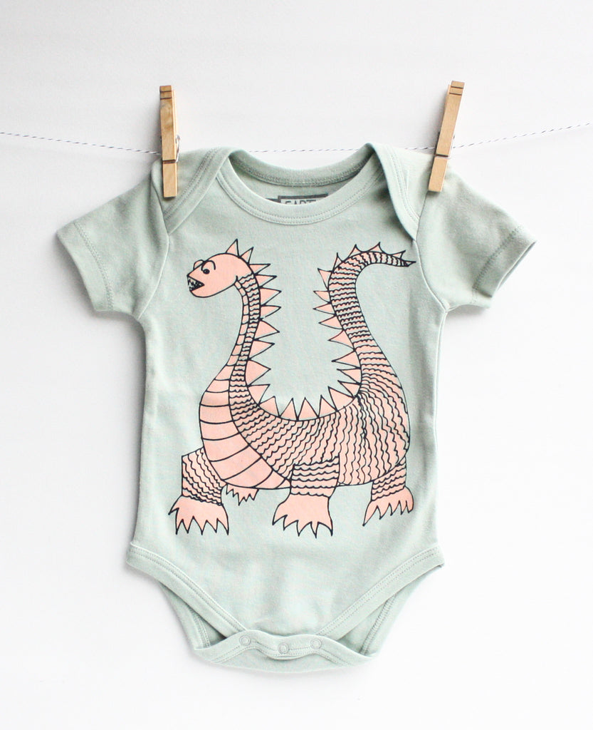 Elliot the Dragon - seafoam, organic bodysuit