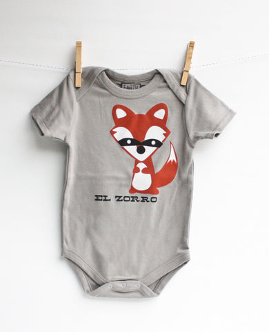 El Zorro the Fox - Organic Cotton - screen printed fox bodysuit