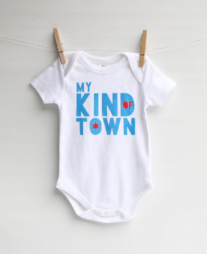 My Kind of Town - Chicago inspired, handprinted, organic bodysuit