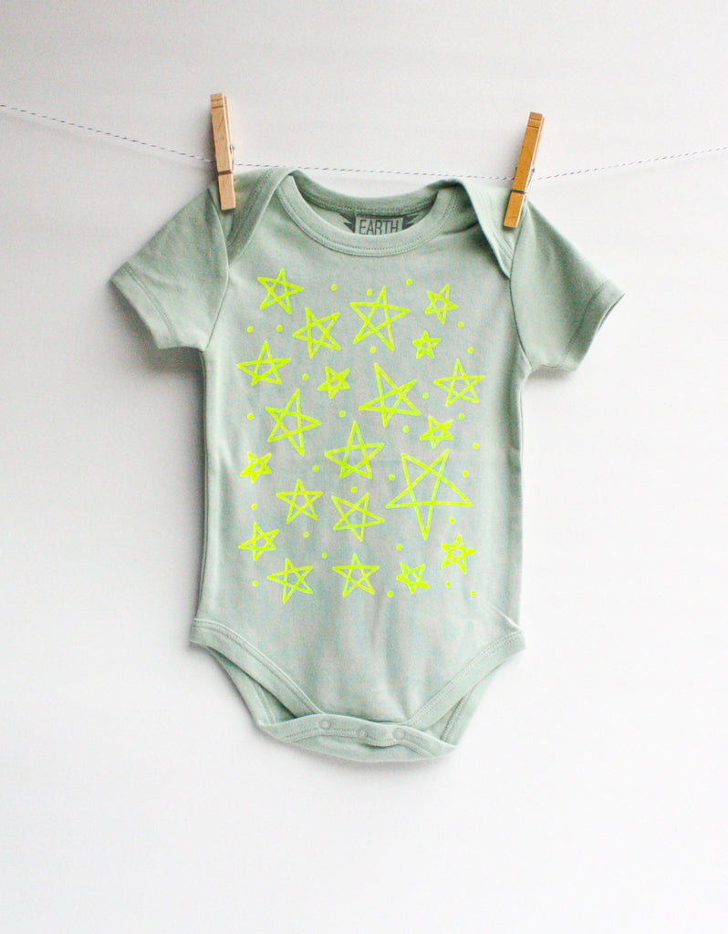 Star Bright - handprinted, organic baby bodysuit