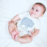 Peanut the Elephant - organic baby bodysuit