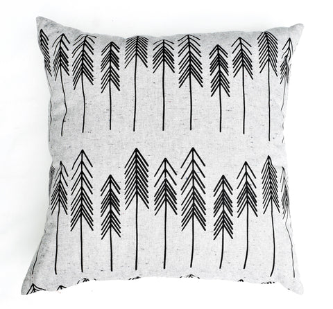 For You I Pine - organic, hand printed pine tree pattern pillow, black and grey