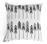 For You I Pine - organic, hand printed pine tree pattern pillow, black and ivory