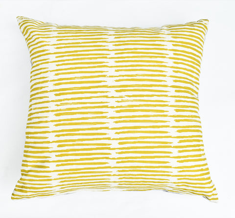 Scribble - organic, hand printed pillow, chartreuse