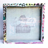 As Big as the Ritz -  large square stretched screen, one of a kind screen printed, drop cloth, wall art