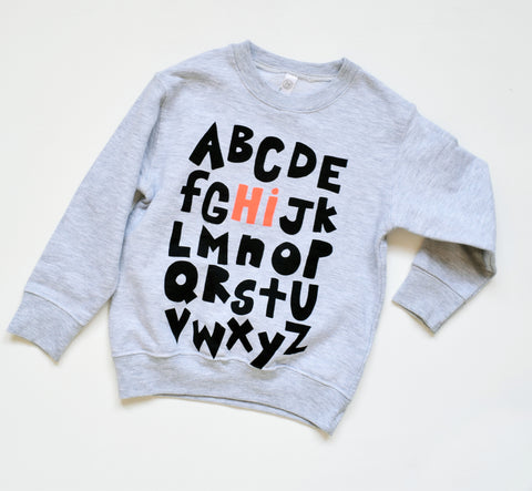 Hi from the Alphabet - kids sweatshirt