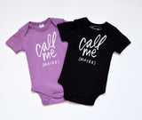 Call Me Maybe - hand printed, organic bodysuit