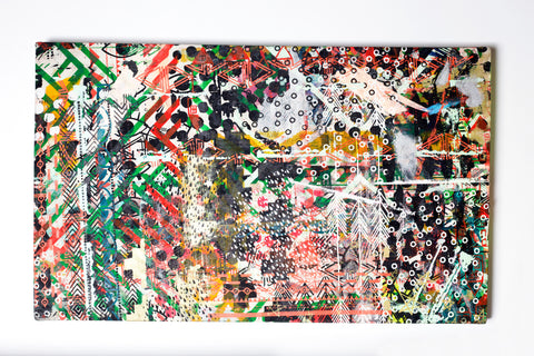 Confetti- large stretched screen, one of a kind screen printed, drop cloth, modern wall art