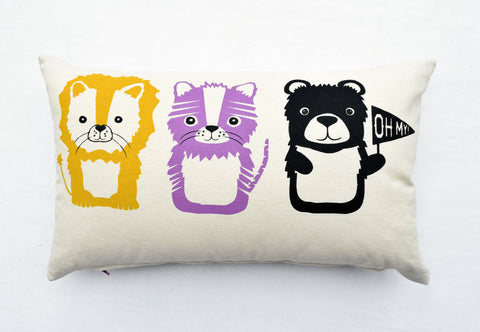 Lions and Tigers and Bears - baby girl nursery decor, organic hand printed lumbar pillow, Wizard of Oz themed
