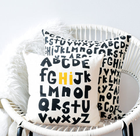 Alphabet Hi! - black and mustard - pillow case